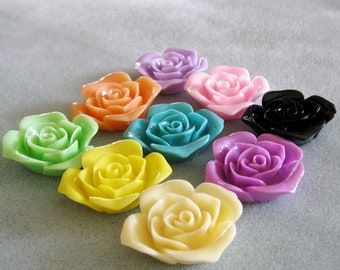Large Rose Flower Cabochon Mix 36mm Resin Lucite Acrylic Choose Your Colors 907