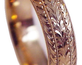 "New! HAND ENGRAVED Classic Leaf/Wheat Pattern Men's 14 K Rose Gold 7 mm wide Wedding Band ring ""Comfort Fit"" Size 8 and up, made to order"