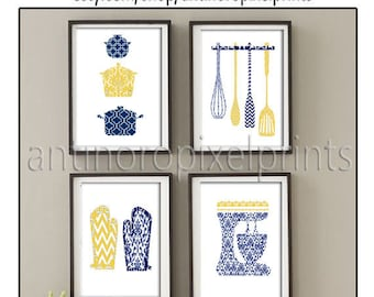 Damask Kitchen Tools Navy Blue Mustard Yellow White Art Collection  -Set of (4) - 8x10 Prints (Unframed) #258874527