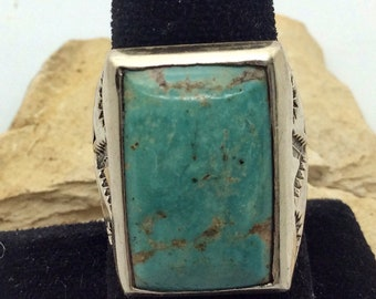 Vintage NOS Bell Trading Post/ Sunbell Navajo Turquoise Sterling Mens Ring size 11