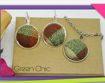 Fabric Jewelry Set - earrings and necklace