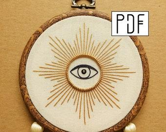 PDF pattern - Star Eye Hand Embroidery Pattern (PDF modern hand embroidery pattern)