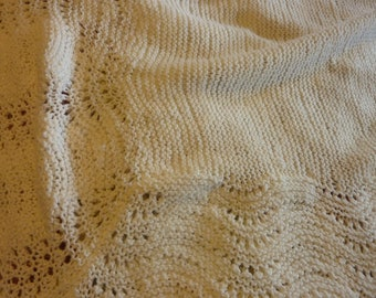 Extra Large Hand Knit Baby Blanket - Off White Lacy Edging Detail with solid stitching center panel - Synthetic