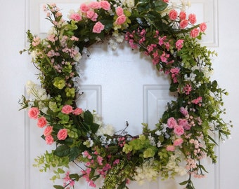 Summer Wreath, Spring Wreath, Wildflower Wreath, Pink Roses Wreath,Door Wreath, Everyday wreath, Different Colors Available
