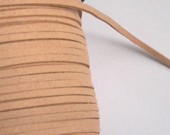 CORD flat 3 meters in natural suede for creating jewelry and crafts