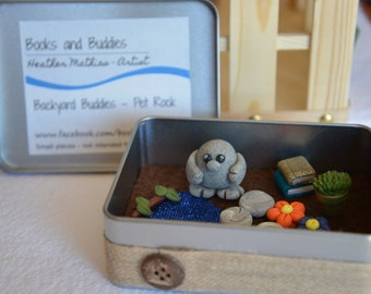 Backyard Buddies by Books and Buddies Pet Rock Monster Lizard Polymer Clay Habitat and Critter