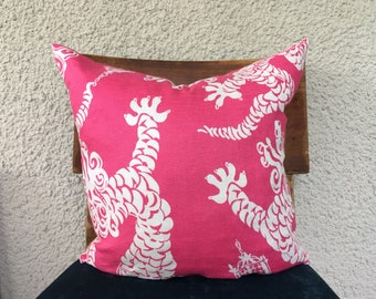 18x18 Pink Dragon Tail Lights, Square Knife Edge Decorative Pillow Covers, Pink Decor, Lilly Pulitzer Fabric