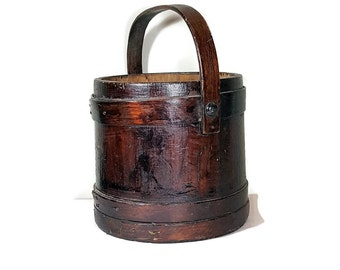 Antique RUSTIC WOODEN BUCKET Vintage Farmhouse Country Decor All Wood Sugar Bucket Vintage Firkin French Country Bucket Primitive Decor