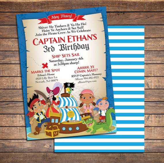 Jake and the neverland pirates invitations printable boys like this item filmwisefo