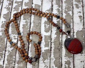 Necklace, Mala, African Bloodstone, Sandalwood Necklace, Knotted, yoga jewelry