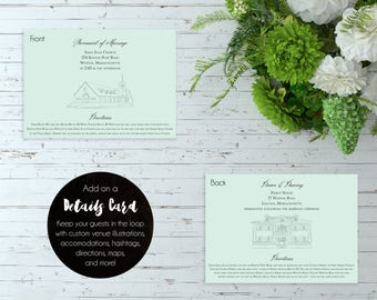 Classic Elegant Wedding Details Card - (Chic, Romantic, Graceful, Stylistic, Personalized Wedding Invitation Suite w/ Custom Illustrations)
