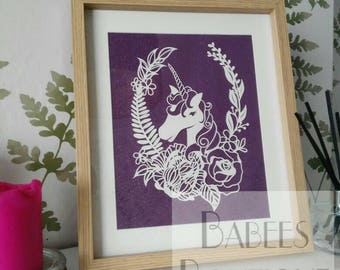 Floral Unicorn papercutting template | design by Babees Boutique Papercutting | personal & commercial use
