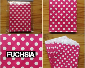 24 Mini Paper Bags - 13cm x 18cm - Bright - Polka Dot - Gift Wrap - Craft Fair - Favour Bags - Sweets - Jewellery - Bakery - Pretend Play