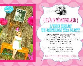 Alice In Wonderland Birthday Invitation - Custom Printable