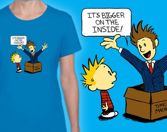 Ladies Fit T-shirt - Doctor Who 10th Doctor Calvin and Hobbes Tenth Doctor Time Machine Fan Art Crossover
