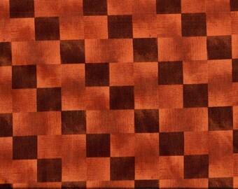 Vente au metre -A PRIX DOUX /  Tissu coton fin de qualité à larges carreaux bruns clairs/bruns foncés