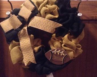 Burlap Wreath yellow and black burlap; Pittsburgh Steelers Football wreath