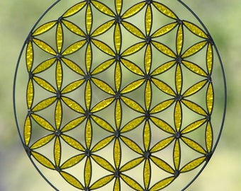 Flower of life mandala meditation bohodecor yoga sacred geometry yellow