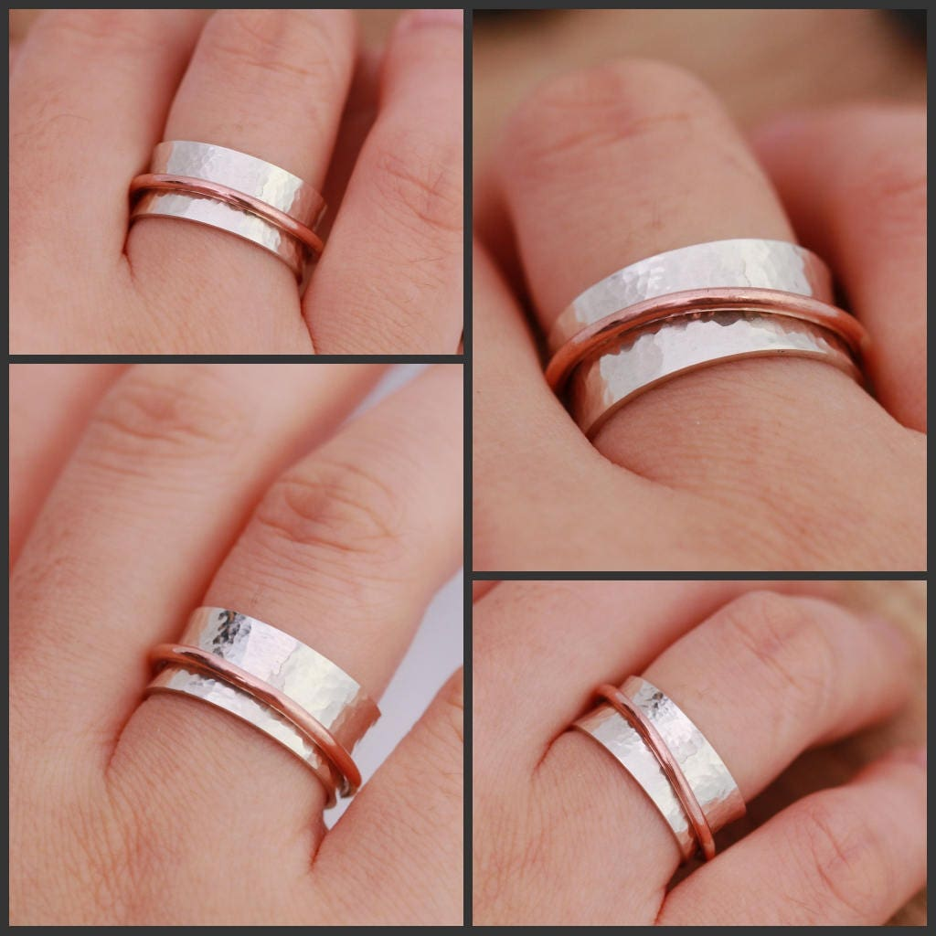 Sterling Silver Spinner Ring|Textured Spinner Ring|Worry Ring ...