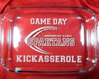 "Game Day Kickasserole, Your Team 9""x13"" Pyrex Baking Dish with Lid"