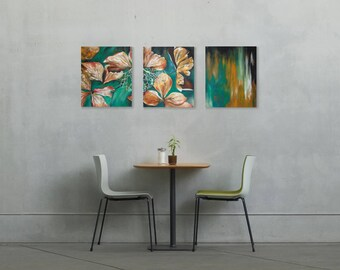 Hydrangea Painting on Split Canvas