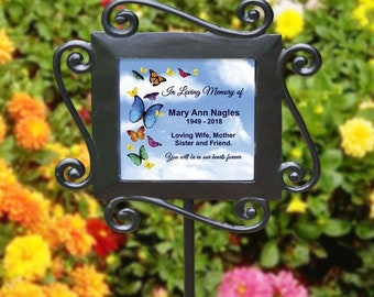 Personalized Butterfly Memorial Garden Stake Plant Marker Any Text In Loving Memory Memorial Plaque