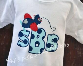 Airplane Shirt - Boys Monogrammed Shirt - Monogram Shirt - Plane Shirt - Airplane Birthday Shirt - Plane Party - Planes - Aviation Party