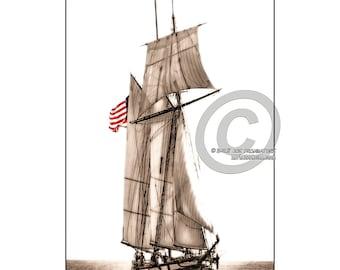"8X10"" Custom Sepia Print Tall Ship ""The Lynx"" Sailing on Lake Pontchartrain"