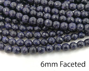 1 Full Strand 6mm Blue Goldstone Faceted Round Beads Round Faceted Blue Sandstone Beads