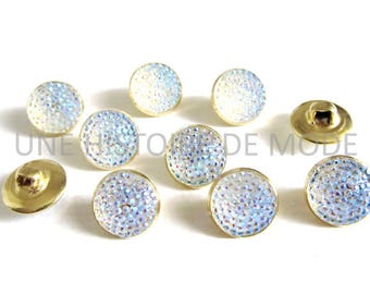 10 white iridescent metal and synthetic 13 mm rhinestone buttons