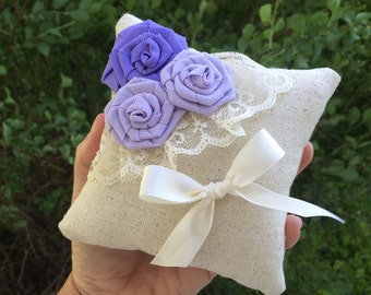 """5"""" x 5"""" Natural Cotton Ring Bearer Pillow with Rosettes, Lace & Ribbon- Choose Your Rosette Colors-Wedding-Beach Wedding-Garden Wedding"""