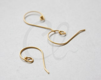 4 Pieces (2 Pairs) Premium Matte Gold Plated Brass Base Earring Wire - Earring Hooks 28x17mm (1894C-I-115F)