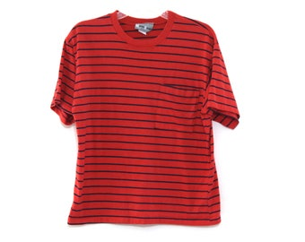 Vintage 80s striped tshirt pocket tee red navy blue top 90s