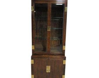 Vintage Henredon Scene One Campaign 2 Piece Curio Cabinet Display Case Hutch B