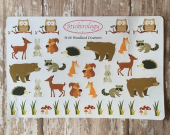 Woodland Critter Stickers, Animal Stickers, Bear Stickers, Deer Stickers, Owl Stickers, Forest Stickers, A-88.