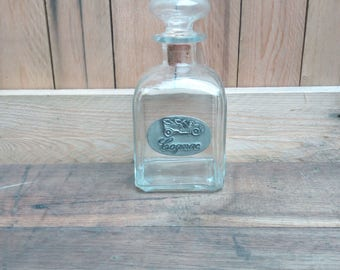 Carafe / decanter brandy glass with real Tin plate.
