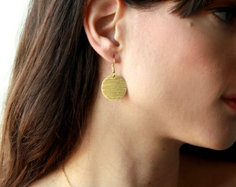 Gold earrings, 14k earrings, Gold Round Earrings, Coin Gold Earrings, Circle Earrings Gold, Gold Disc Earrings, Gold Drop Earrings