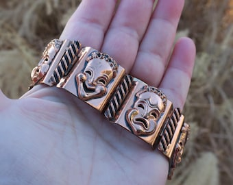 Vintage Renoir Copper Comedy Tragedy Panel Bracelet