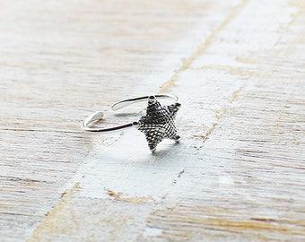 Starfish Toe Ring, Boho Toe Ring, Silver Toe Ring, Adjustable Toe Ring
