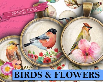 """Digital collage sheet  Birds and flowers INSTANT DOWNLOAD - td290 - 1.5"""", 1.25"""", 30mm, 1 inch - Printable Bottle Cap Images glass cabochon"""