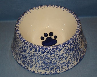 Ceramic Dog Food Bowl, Water Bowl, Paw Print, Blue