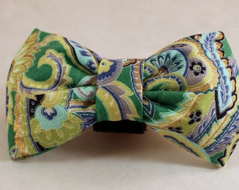 Dog Flower, Dog Bow Tie, Cat Flower, Cat Bow Tie - Green Paisley