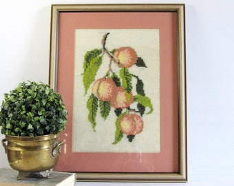 Ripe Peaches - Vintage Framed Needlepoint Art Embroidered Fruit Botanical Art Fibre Art Embroidery - Farmhouse Decor Pink Kitchen Wall Decor