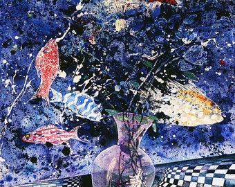 Fish Flowers 2, Abstract Art, Pigment, Modern Art, Divergent Different Singular Optical illusion Art Print, Paper, Wood Block, Giclee Print