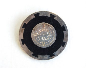 Aztec Sun Brooch Pin Vintage Mexican Sterling Silver Disc Jewelry Ancient Meets Modern Black Resin Jewelry