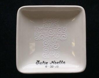 Cross Ceramic Ring Dish, Trinket Dish - Baptism, Birthday, Christmas,Engagement, Wedding gift