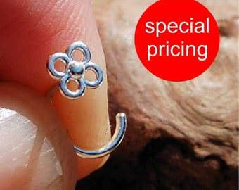Silver Nose Stud / Tiny Nose Stud / Sterling Nose Stud / Tiny Blossom Nose Stud in Sterling Silver - CUSTOMIZE