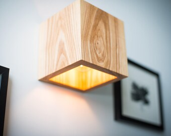 Wooden wall sconce etsy wood lamp q264 handmade wall lamp wooden lamp sconce wall light minimalist lamp interior decoration wood decor cube wood sconce aloadofball Gallery