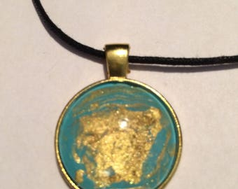 Turquoise and gold abstract necklace