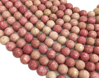 Pink Rhodonite Faceted Round Beads,6mm 8mm 10mm Gemstone Beads ,Approx 15.5 Inch Strand